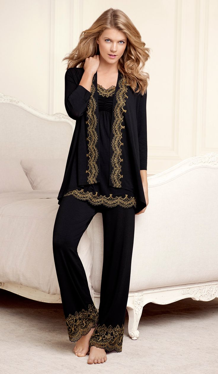 #Soma Embraceable Scroll Lace Wrap, Cami & Pant in Black #SomaIntimates