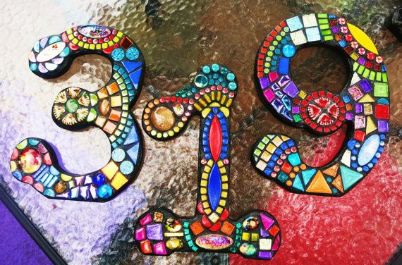 """7"""" Tall - CUSTOM Mixed Media Mosaic House Numbers - This is the Wild & Funky Style Example - Order Your 7"""" Size Numbers From This Listing"""
