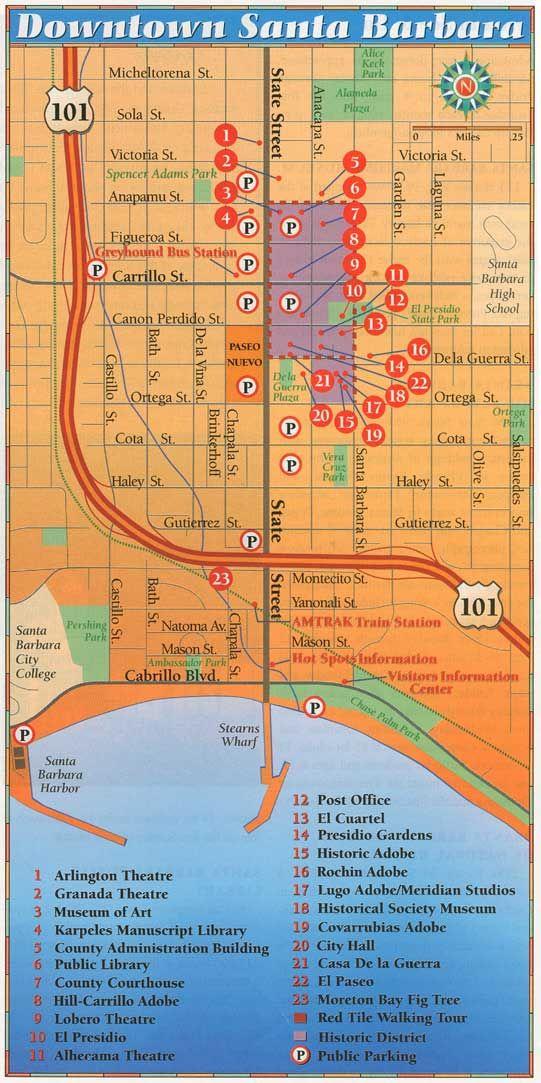 Downtown Santa Barbara Map