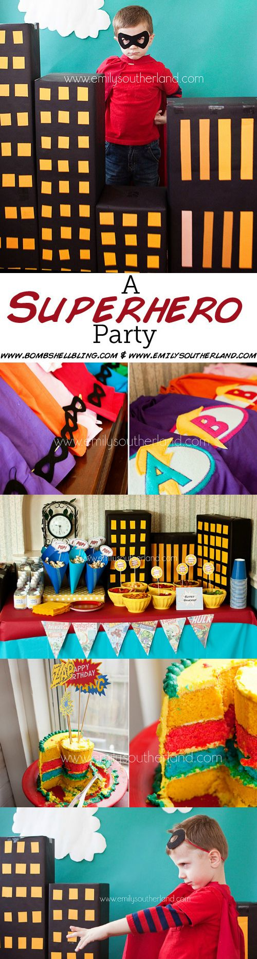 An Epic SuperHero Birthday Party. Love the capes and photo backdrop!