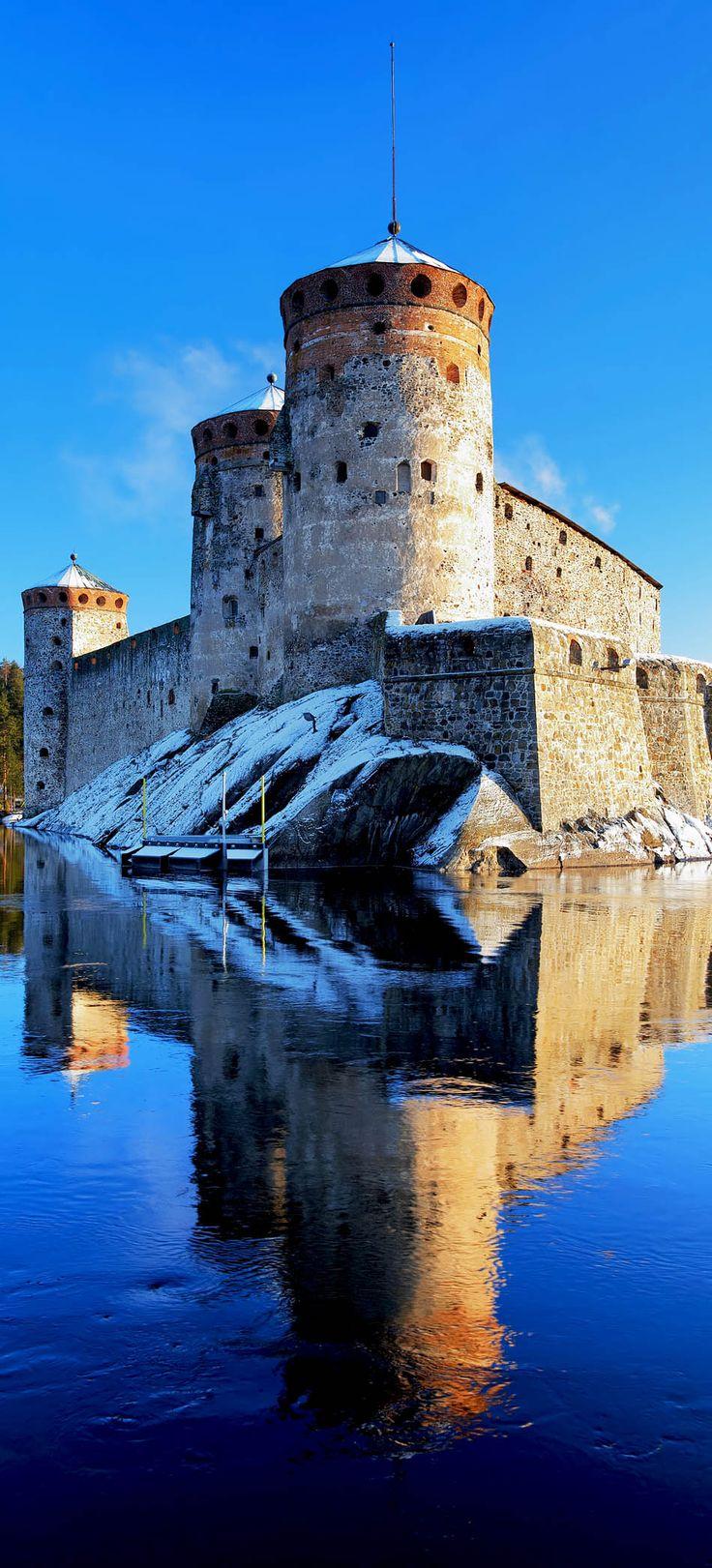 Castle Olavinlinna (Olofsborg) in winter, Savonlinna, Finland