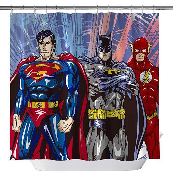 Goodcare Superman Batman Flash Classic Shower Curtain For Bathroom