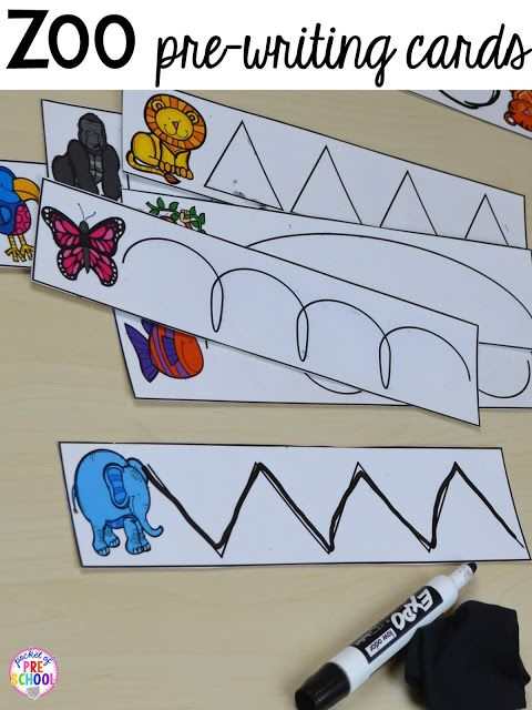 Zoo pre-writing cards for a zoo theme. Desert art FREEBIE. Prefect for preschool, pre-k, and kindergarten.