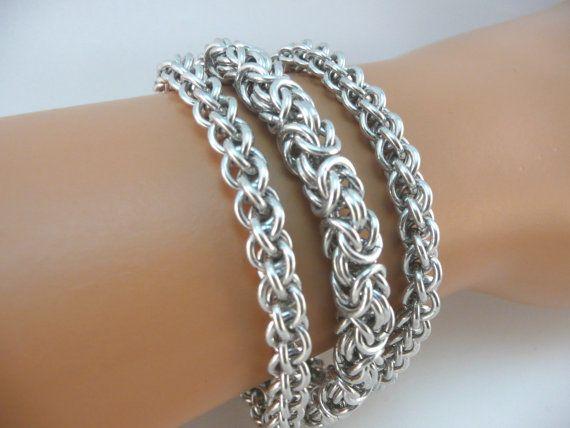 Tres fila pulsera chainmaille Chainmaille pulsera brazalete
