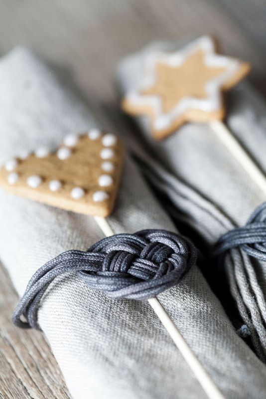 knotted leather cording napkin rings + linen {love the cookie pop extra}