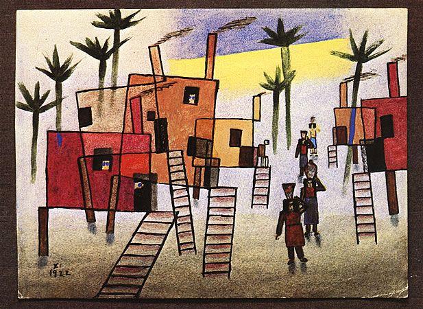 """""""Casas en alto""""_Xul Solar había nacido en el Delta del Paraná y las casas con pilotes, propio de ese lugar se repetían en su obra."""