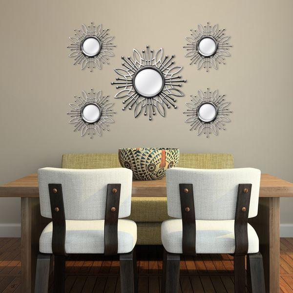 Stratton Home Decor Silver Metal 5-piece Round Burst Wall Mirrors