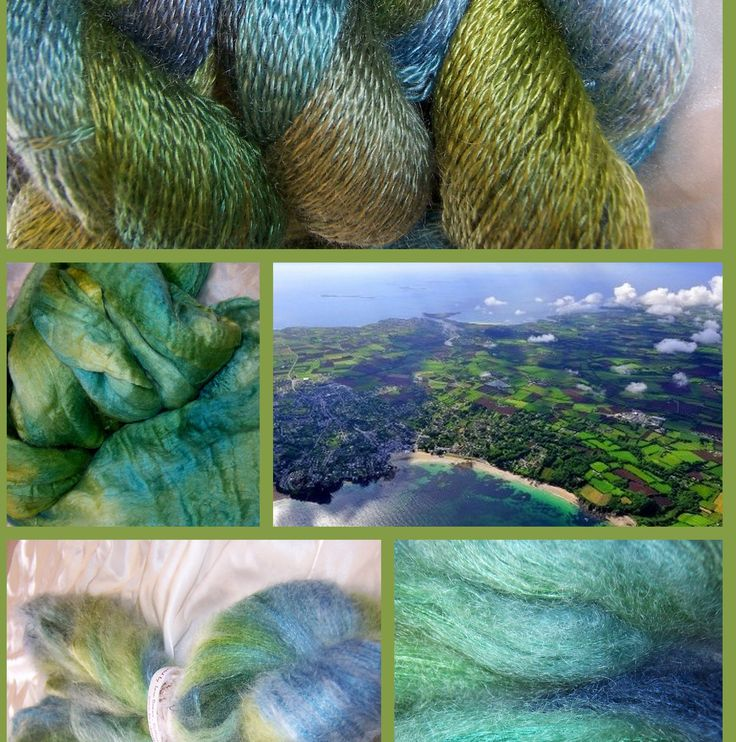 """Aerial"" tries to emulate the soft mesh of blues, & greens we all see out our plane windows. Scenery can be stunning when seen from above. This collage features Angoraglow mohair yarn (top) merino/silk fibres (middle) and brushed Kool Kid (bottom)."