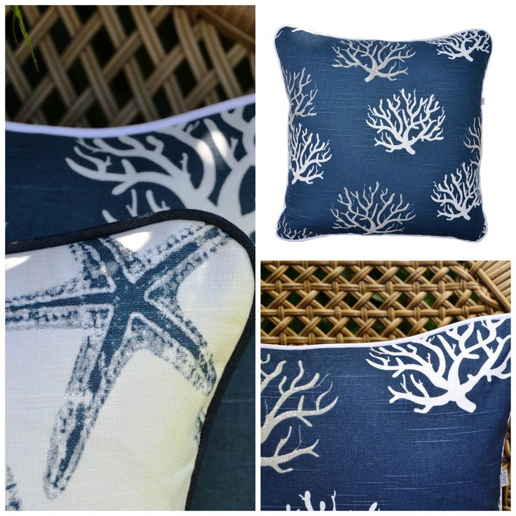 Beach House cushions by Julie Alves Designs ...... Coral and Starfish available on Etsy.com