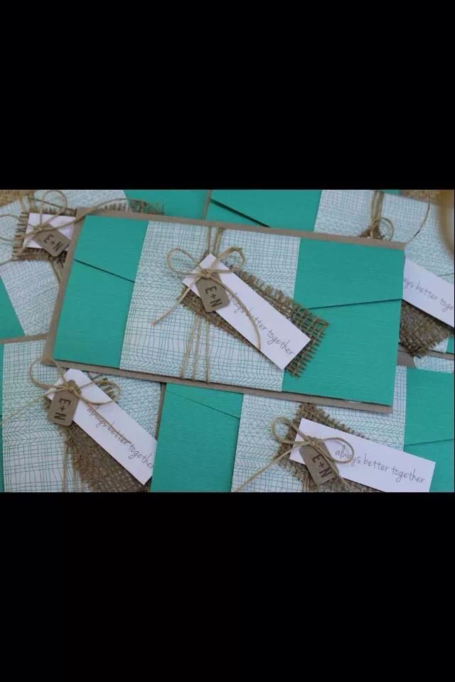 Aqua and Kraft paper invitations with burlap by The Paper Dolls, Byron Bay