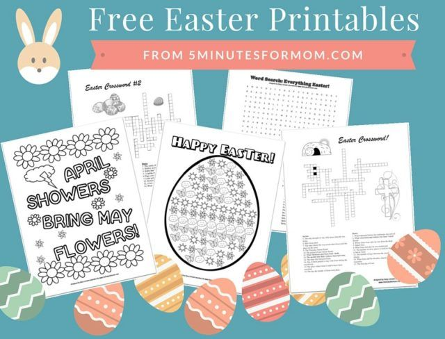 Free Easter Printables for Kids – Coloring Sheets and Crosswords – 5 Minutes for…   – Children SS