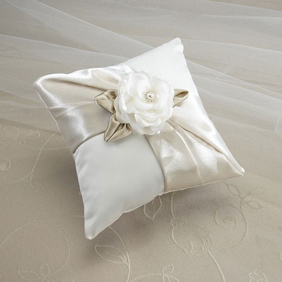 Beautiful taupe satin wedding ring pillow finished with a rose and sash. £23.99