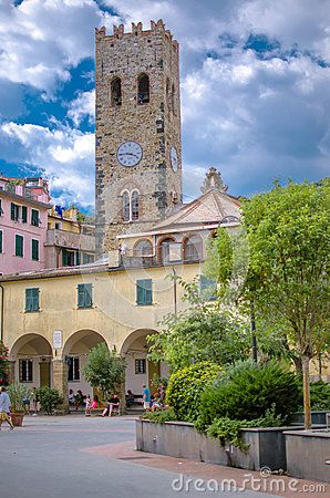 Clock tower in Monterosso - Cinque Terre, Italy