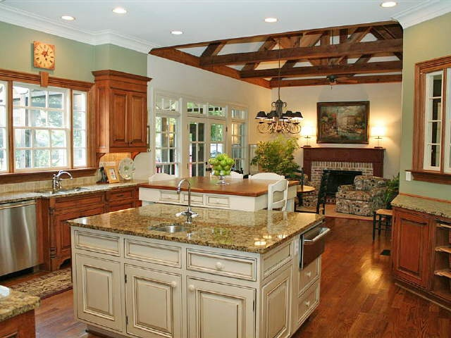 Kitchen/hearth room. I have always wanted this combo!