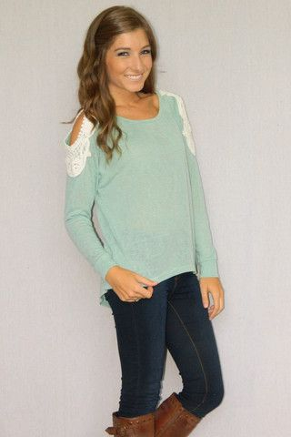 Crochet Dreams Sweater (Teal) | Girly Girl Boutique  What a good idea to do the same thing for my sweatshirts! :)))))