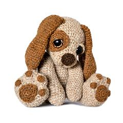 Moss the Puppy dog amigurumi crochet pattern by Patchwork Moose (Kate E Hancock)