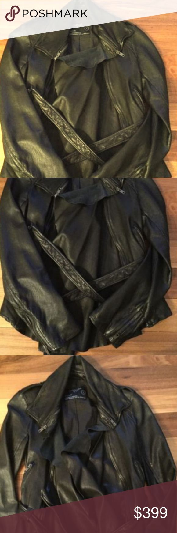 Auth AllSaints Black leather biker jacker size 6 NWOT Authentic AllSaints Black Leather Belted Biker Jacket Size US 6. There is a slash on the back of the collar that can be fixed by a leather repair shop. It is a new jacket. All Saints Jackets & Coats