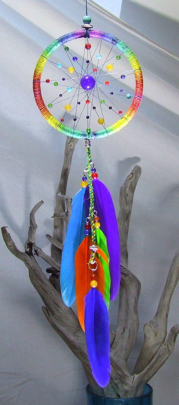 Arco iris Dream Catcher Boho Chic atrapasueños pequeño cáñamo