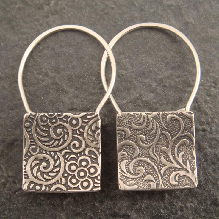 Earrings | Chuck Domitrovich. 'Shopping Bags' Sterling silver