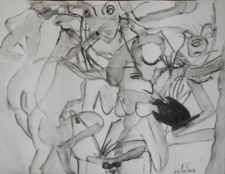 Le Jardin des délices9 (Dessin),  65x50 cm par Tatiana Anikina