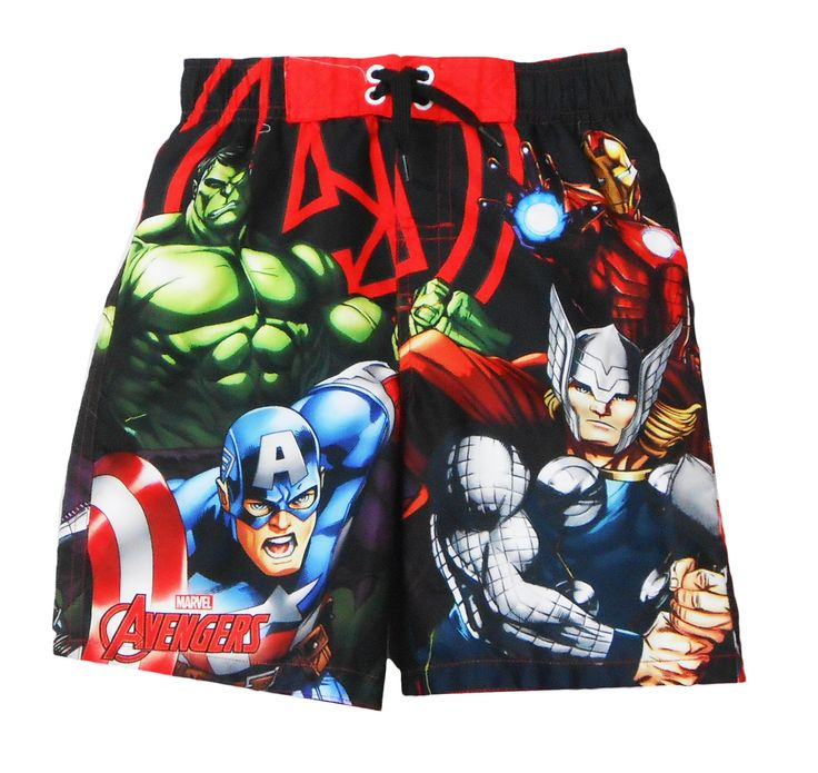 Marvel Avengers Little Boys Swim Trunk Size 7. Officially Licensed Marvel Merchandise. 100% Polyester. UPF 50+ UV Protection; elastic waist for comfortable fit; decorative lace-up front. Interion Mesh brief; woven construction. Features Marvel Avengers Captain America.