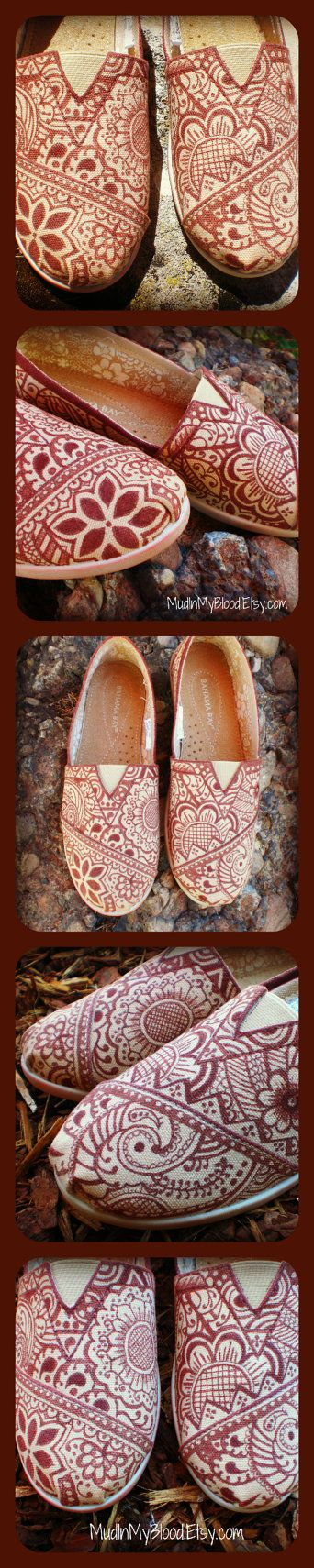 Henna Design TOMS Style Shoes- Made To Order on Wanelo