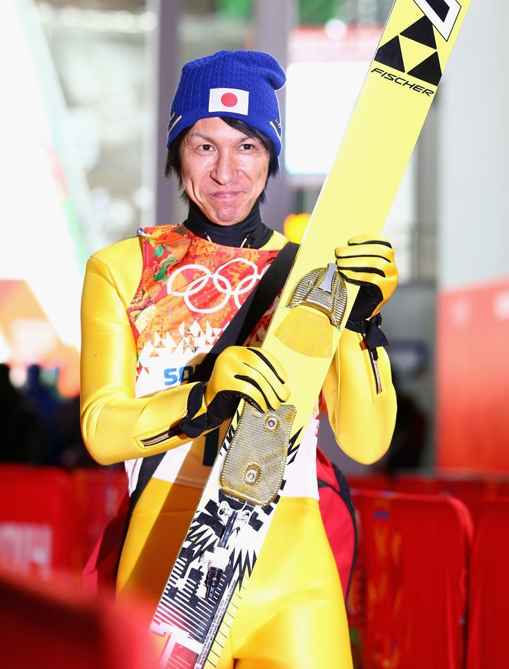 Noriaki Kasai of Japan reacts after the Men's Normal Hill Individual Ski Jumping Final (c) Getty Images