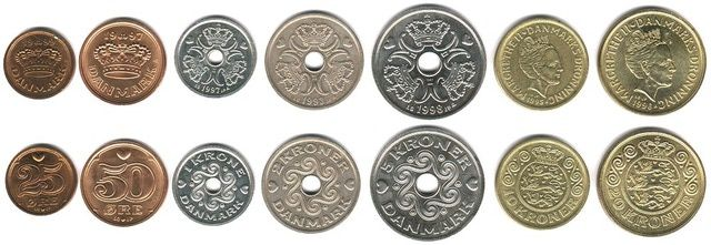 This is a photo showing the coins which are currently used as money in Denmark. This Danish coinage is part of the monetary system used in Denmark.