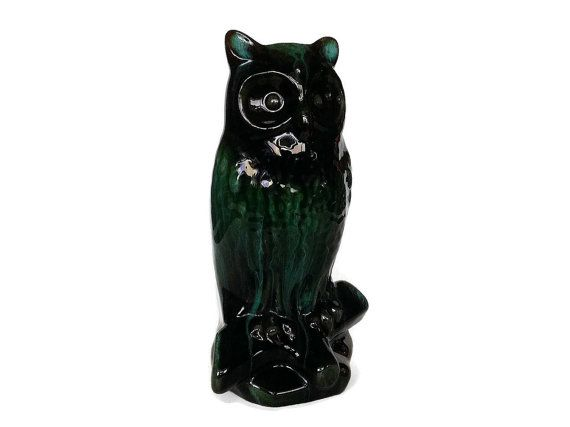 Blue Mountain Pottery Owl Large Retro Black by NoNameCatVintage