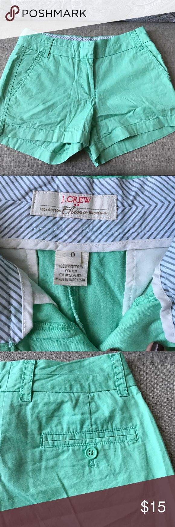 "J Crew Chino Shorts in Seafoam Green J Crew Chino Shorts in Seafoam Green. size 0. 3"" inseam. Originally from outlet store J. Crew Shorts"