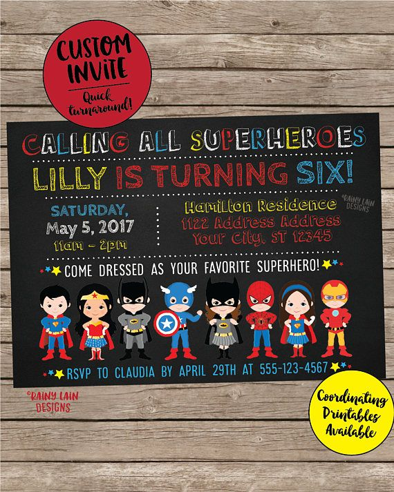 Superhero Invitation Birthday Boy Costume Party Invite Girl Custom Get Your
