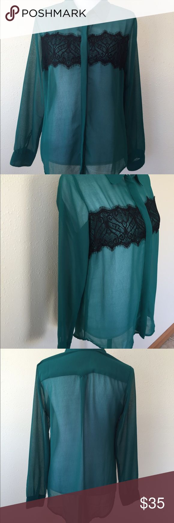 Romeo + Juliet Couture Sheer Emerald Blouse Size S Gently used no flaws. Long tunic type button front sheer blouse. A1 Romeo & Juliet Couture Tops