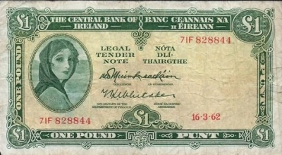 The Irish Pound note I grew up with - and you could buy a lot with it. The woman is Kathleen Ni Houlihan, emblem of Ireland and Irish nationalism.  The model was Lady Lavery,  wife of the artist Sir John Lavery.