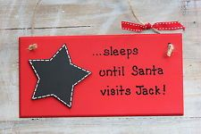 Personalised Christmas Countdown Wooden Plaque Sign Chalkboard Advent Star