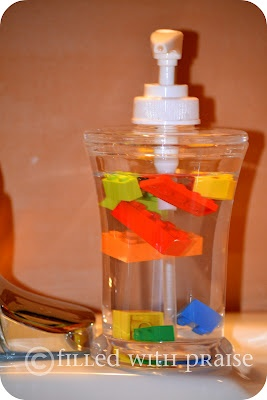 Lego's in the soap dispenser to get the kids to wash their hands.  Each pump of soap makes the lego's move.