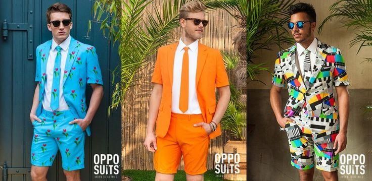 kleurrijk grappig herenpak met korte broek. Leuke outfit voor het festivalseizoen voor de man. www.zook.nl/opvallende-kleurrijke-en-te-gekke-herenpakken-online