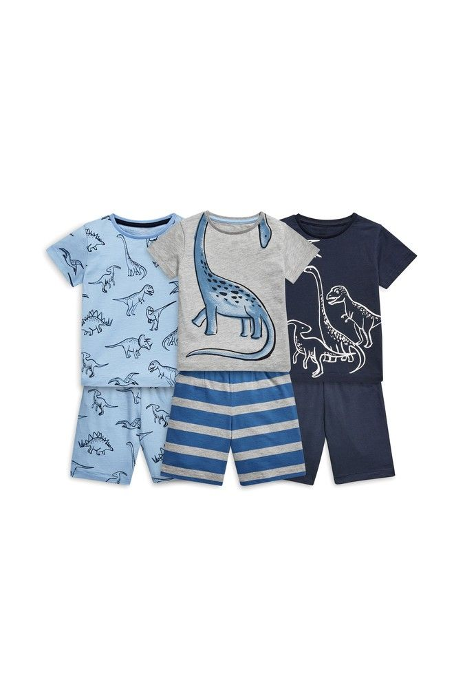 ebff8c1ad13d Boys Next Blue/Grey Dino Snuggle Pyjamas Three Pack (9mths-8yrs ...