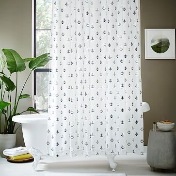 Freshen up your bathroom with a small-scale print like our Anchor Shower Curtain—the classic, nautical icons never go out of style.