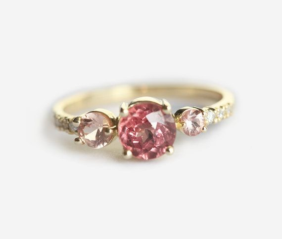 Cluster Engagement Ring Peach Sapphire and Malaya by MinimalVS