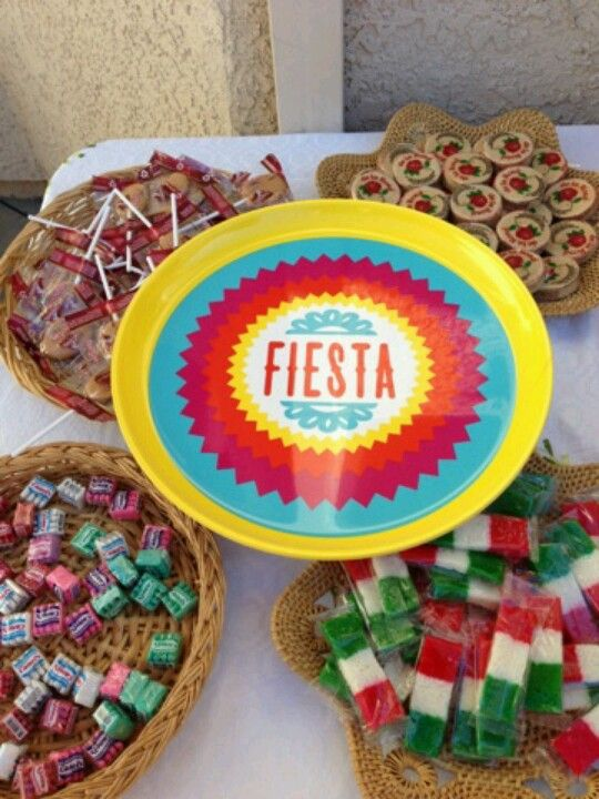 Mexican themed party small candy buffet.