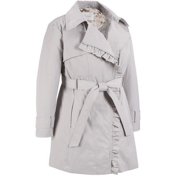 Plus Size Jessica Simpson Ruffle Trim Trench (11.320 RUB) ❤ liked on Polyvore featuring plus size women's fashion, plus size clothing, plus size outerwear, plus size coats, plus size, plus size women's trench coat, slim trench coat, plus size trench coat, jessica simpson coats and trench coat