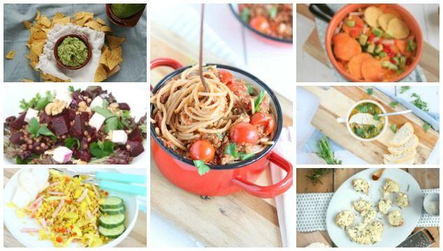 Weekmenu 6 met spaghetti met champignonsaus, nasi, kippensoep en geroosterde bloemkool uit de oven. In het weekend een dip en lunch recept.