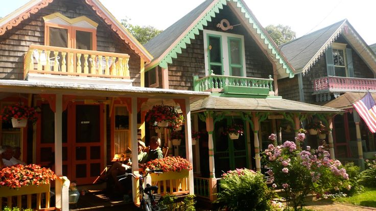 Take a tour of the colorful gingerbread cottages in martha for Martha s vineyard gingerbread cottages