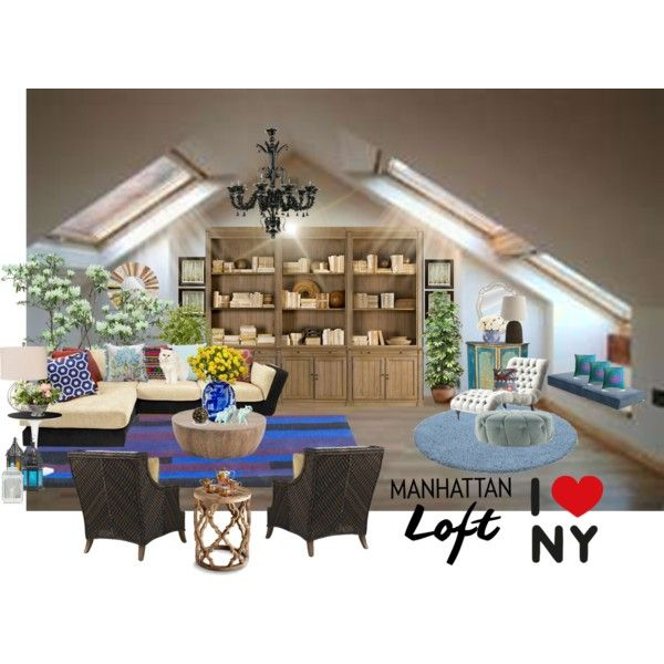 Manhattan Loft by wasupfirefairy on Polyvore featuring interior, interiors, interior design, home, home decor, interior decorating, Restoration Hardware, Carolina Chair, Kartell and Arteriors