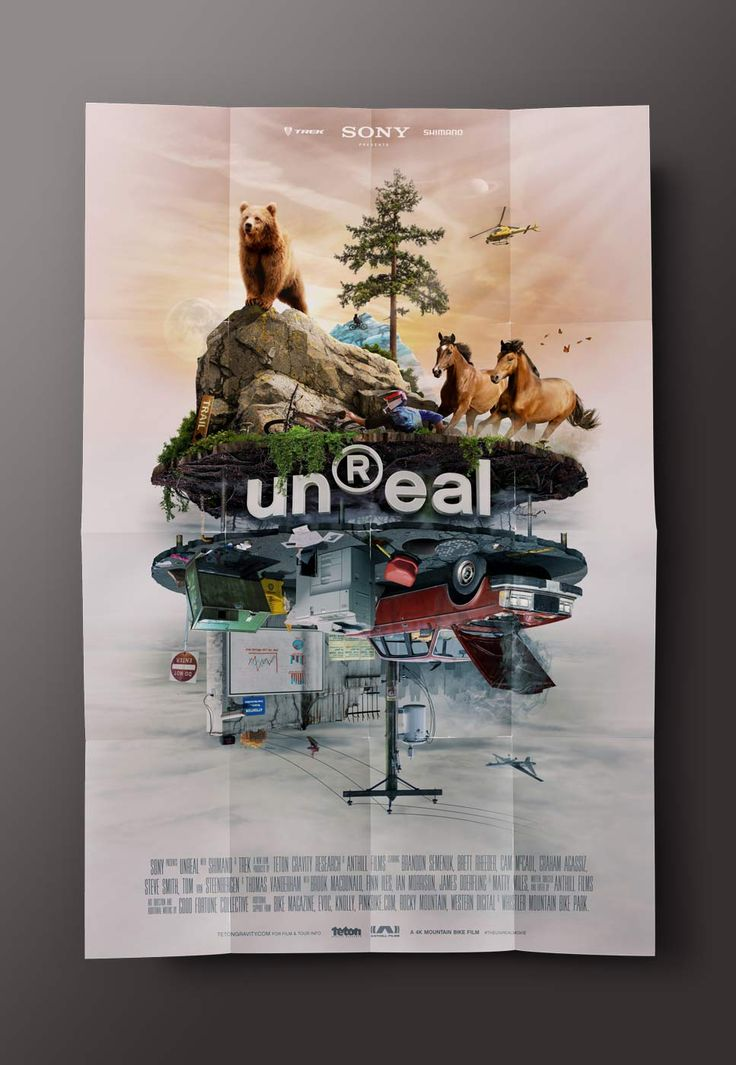 unReal - Movie Poster. In the film, mountain bikers are transported out of the Real world and into the unReal world every time they get on their bikes. The poster captured the duality of both worlds and one rider's struggle to get into the unReal.