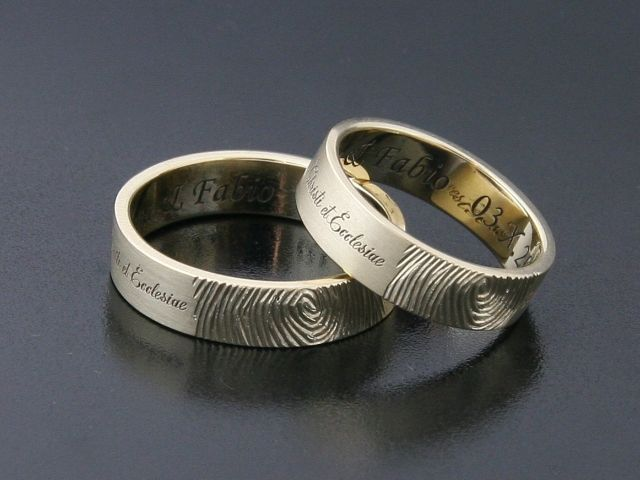 #Rings by #Bielak  yellow #gold  #fingerprints and #engraving  #unique #wedding rings from #Poland