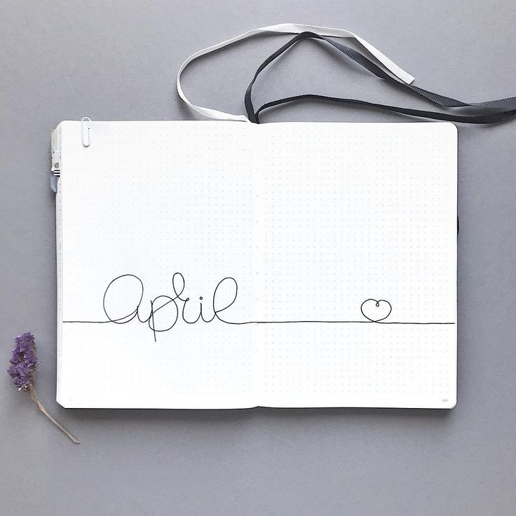 Bullet journal April cover page, minimalist April cover page. | @bujoist