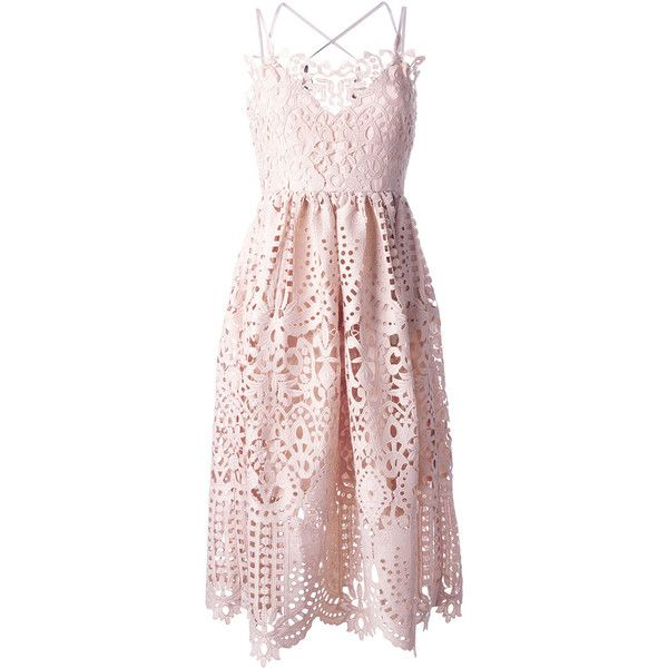 Perseverance London flared lace dress (105.445 HUF) via Polyvore featuring dresses, pink dress, lace fit-and-flare dresses, lacy dress, flare cocktail dress and flared hem dress