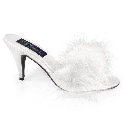 3 in. Classic Marabou Slipper - White $35.99 http://www.wildfree.com/prods/PZ-AMO03-W-SAT.html #slipper #whitefur #whiteslipper #furryslipper #bedroomshoe #sexyheel