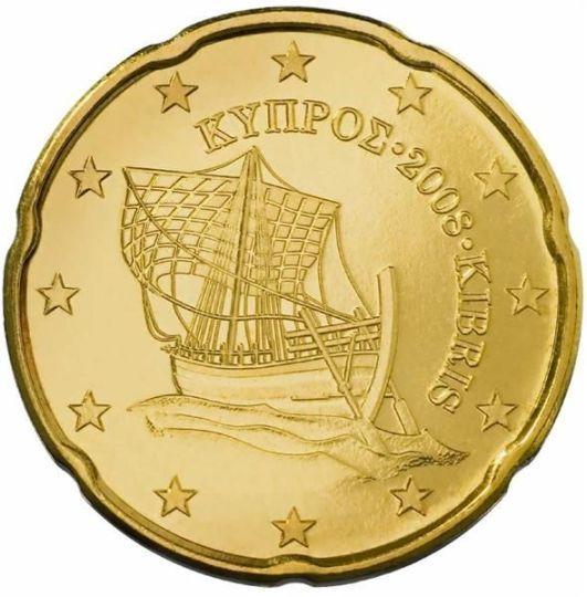 """CIPRO 20 cent: Al centro della moneta è raffigurata la nave di Kyrenia (del IV secolo a.C.), che rappresenta il legame dell'isola con il mare e la sua importanza nelle attività commerciali e marittime. Il nome greco e quello turco dell'isola, e il millesimo di conio inserito tra i due, """"ΚΥΠΡΟΣ 2008 KIBRIS"""", sono incisi a semicerchio sul lato destro sopra la nave. Intorno 12 stelle a cinque punte rappresentanti l'Unione Europea."""